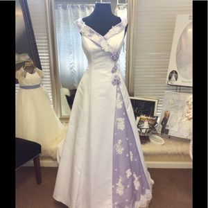 Dresses & Skirts - Satin White and Lavender Wedding Dress